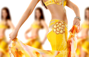 The girls dancing belly dance on a white background